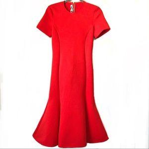 Alexander McQueen Red Scuba Knit Midi Dress: S